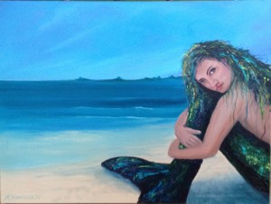 The Waiting Mermaid acrylic on canvas Marjorie Schoelles