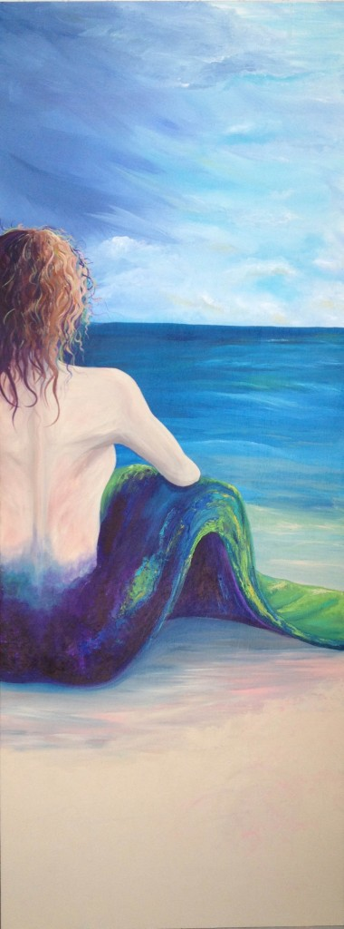 Wondering Mermaid Life size acrylic on wood